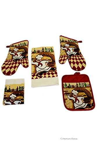 5 Pc Fat French Chef Linen Pizzeria Kitchen Towel Set With Oven Mitts & Pot Holder