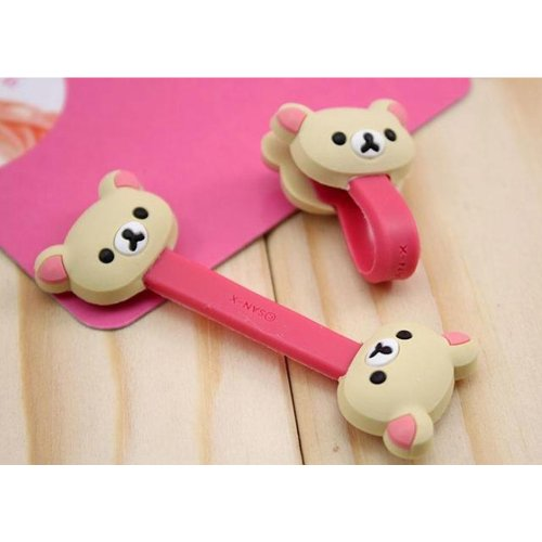 Jk New Cute Disney Cartoon Style Cable Tie Cord Organizer Earphone Wrap Winder/ Fixer Holder/Cord Manager/Cable Winder (Beige Bear)