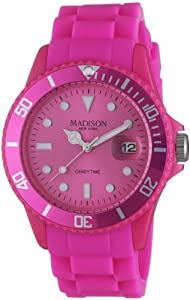 Madison York - SU4167S - Montre Mixte - Quartz Analogique - Cadran Rose - Bracelet Silicone Rose par Madison New York