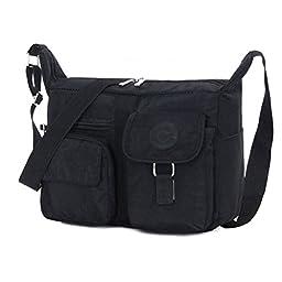 Women\'s Shoulder Bags Casual Handbag Travel Bag Messenger Cross Body Nylon Bags Black