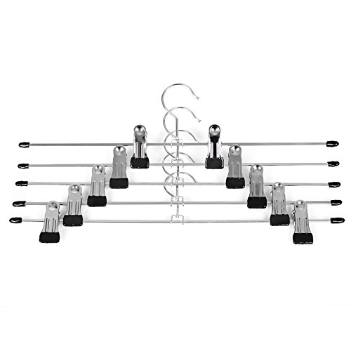 songmics-pack-of-20-heavy-duty-non-slip-metal-chome-skirt-hangers-with-adjustable-clips-40-cm-157-cr