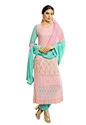Isha Enterprise Women's Pure Chiffon Dress Material(KFD516-1963_Pink)