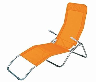 Gesundheitsliege in ORANGE - bequeme Relaxliege mit klappbarem Fußteil von Spetebo bei Gartenmöbel von Du und Dein Garten