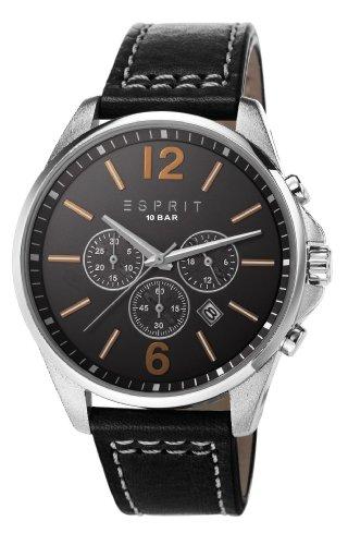 Esprit ES106921005 - Reloj cronógrafo de cuarzo para hombre, correa de cuero color negro