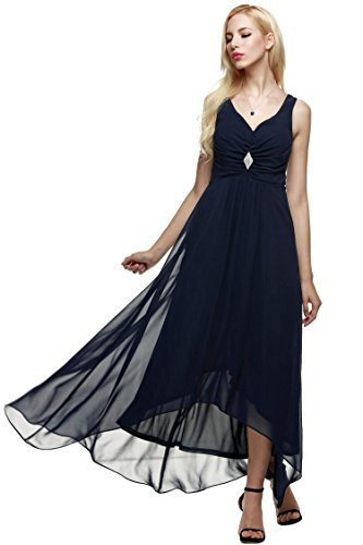 ANGVNS Women Sleeveless Ruched Chiffon Maxi Party Evening Fromal Gown Dress