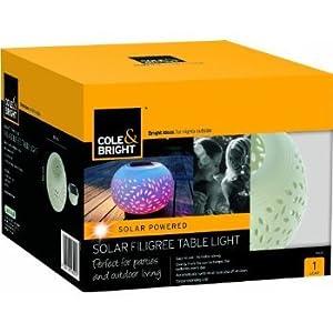 2 X Colour Changing LED Garden Solar Filigree Table Light by Gardman