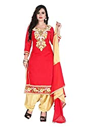 RajLaxmi Women's Fashion Red & Beige Chanderi Silk Dress Material