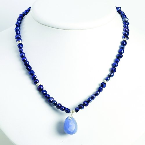 Sterling Silver Blue Agate/Dark Blue Cultured Pearl Necklace. 16in long.