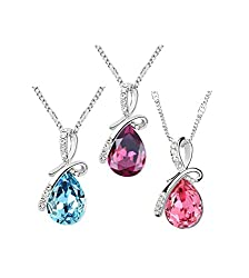 Sorella'z Combo of three Crystal Water Drop Pendants with Chain