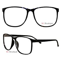 Black Thin Wayfarer Nerd Glasses Clear Lens FREE POUCH 9297C