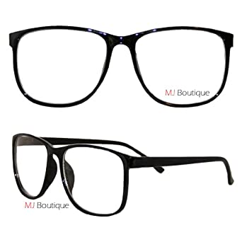 Big Glasses With Thin Frames : Amazon.com: Black Thin Wayfarer Nerd Glasses Clear Lens ...