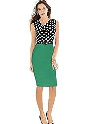 MisShow Splicing Polka Dot Elegant Bodycon Pencil Dress Wear to Work
