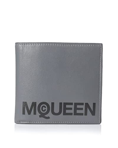 Alexander McQueen Men's Logo Bifold Leather Wallet, Grey