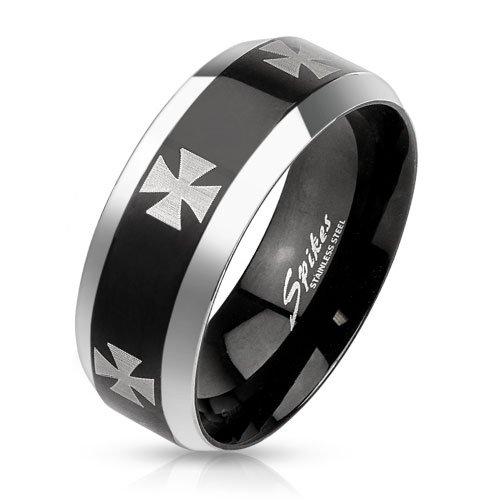 Anello in acciaio inox orecchini a forma di croce BlackAmazement Iron Cross Biker gotico Metal Nero Blu, colore: nero, 23