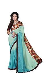 Vishal Sky & Rama Chiffon Saree with blouse piece