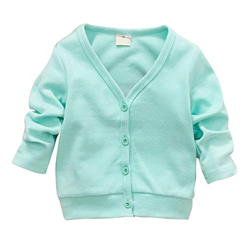 PanDaDa Baby Kids Clothes V-neck Cardigan Knitwear Tops Jacket Sweater Coat (L, Green)