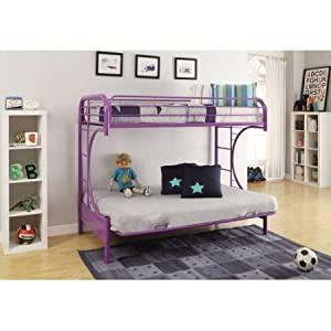 Acme 02091-SI Eclipse Twin/Full Bunk Bed (Purple)
