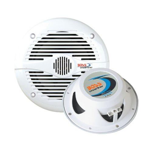 """Boss Audio Mr50W 5.25"""" Round Marine Boat Speakers System Pair White"""
