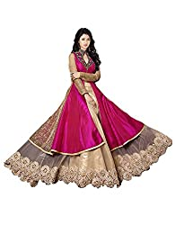 Clickedia Women's Net Dress Material (7020 Shilpa Pink _Pink & Beige)