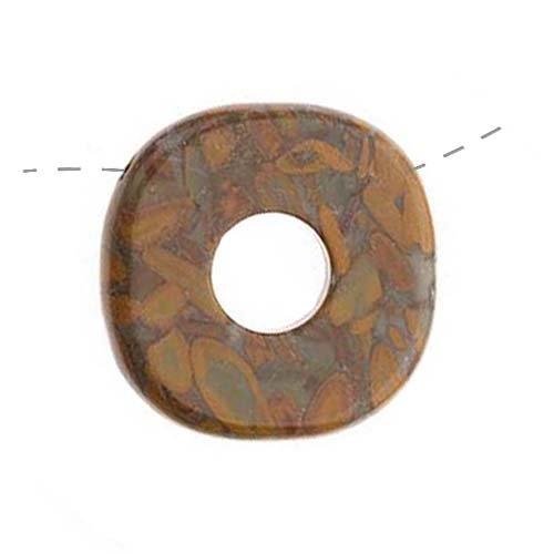 Bamboo Jasper Large Square Donut Focal Pendant Bead 35Mm (1)