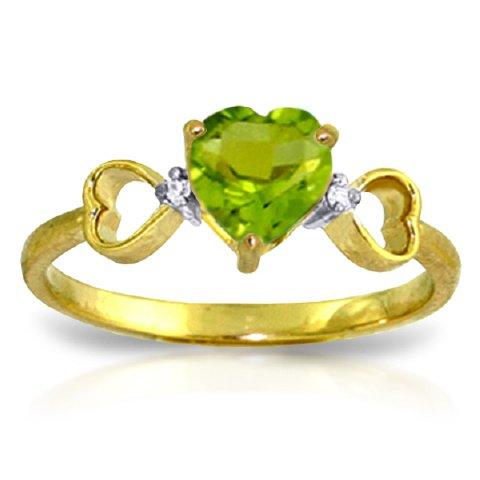 14k Yellow Gold Genuine Diamonds & Heart-shaped Natural Peridot Ring - Size 7.0