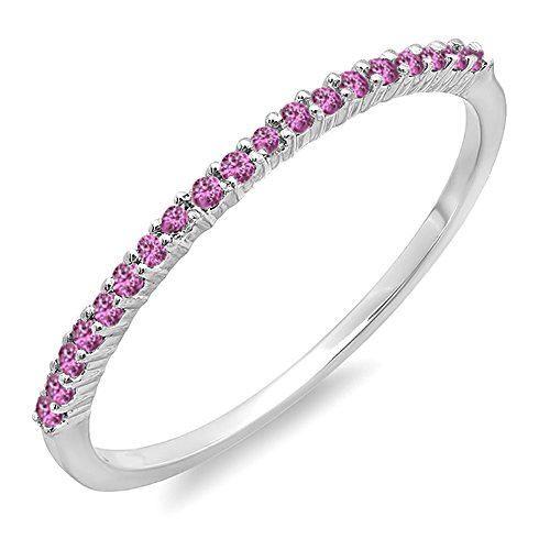 015-Carat-ctw-10K-White-Gold-Round-Pink-Sapphire-Ladies-Anniversary-Wedding-Band-Stackable-Ring