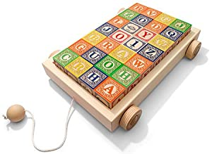 Uncle Goose Classic ABC Blocks with Pull Wagon (28 pcs)
