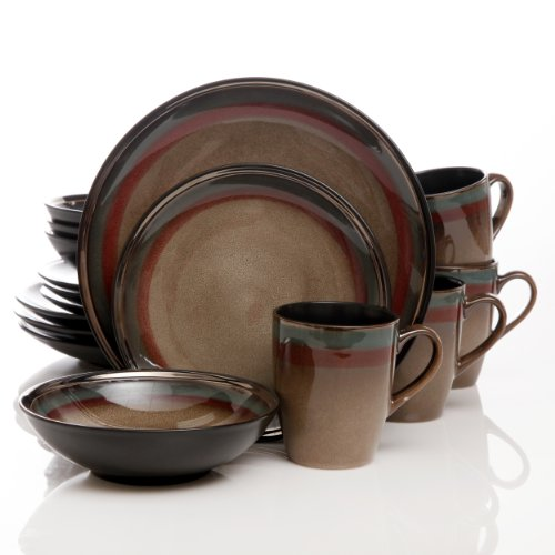 Gibson Elite Tequesta 16-Piece Dinnerware Set, Taupe