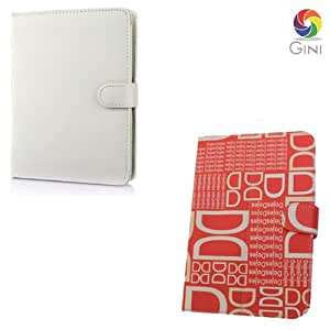 Gini 7 inches Flip cover forIntex iBuddy Tablet Combo of White And Red with dd text