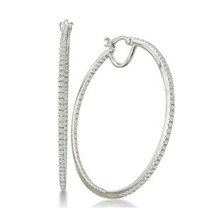1/2ct Diamond Inside-Out Hoop Earrings in Sterling Silver (1 3/4 inch hoops) from SuperJeweler