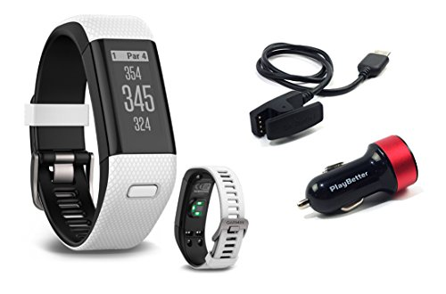 Garmin-Approach-X40-White-Golf-GPS-Fitness-Band-BUNDLE-with-PlayBetter-USB-Car-Charge-Adapter