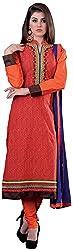 K.K BROTHERS Women's Cotton Dress Material (Orange)
