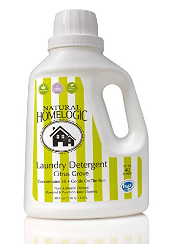 Natural HomeLogic Eco Friendly Laundry Detergent, 50 oz Citrus Grove | Gentle on the Skin | Powerful & Pure Non-Toxic Cleaning | Plant & Mineral Derived | Concentrated 3X | Up to 40 Loads (Clothes Washer Detergent compare prices)