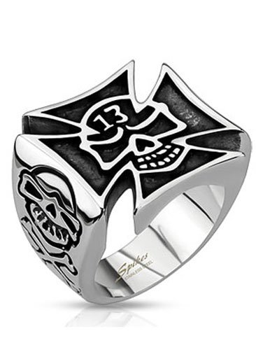 Stainless Steel Celtic Cross With Centered Lucky 13 Skull & Death Skull Side Views Wide Cast Ring, Width 21Mm - Crazy2Shop