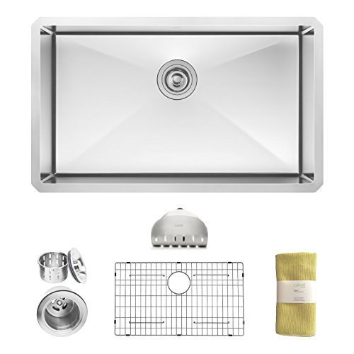 Zuhne 32 Inch Undermount Deep Single Bowl 16 Gauge Stainless Steel Kitchen Sink