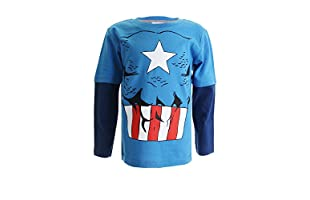 MARVEL Camiseta Manga Larga Captain America Costume (Turquesa / Azul Marino)