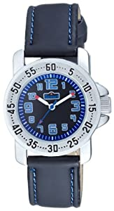 Scout - 280376001 - Montre Enfant - Garçon - Quartz analogique - Bracelet Cuir Noir - Sport - Boitier Acier - Bleu