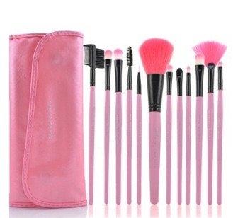 高品質 メイクブラシ 12本セット 三つ折りマグネットケース付き ピンク 種類豊富