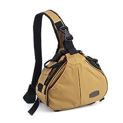 Andoer Caden K1 Waterproof Fashion Casual DSLR Camera Bag Case Messenger Shoulder Bag for Canon Nikon Sony (Khaki)