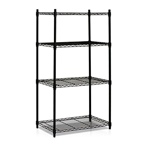 Furinno WS15004 Wayar Heavy Duty Wire Shelving System, 4-Tier, Black (Kitchen Shelving System compare prices)