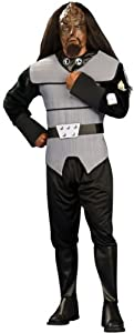 Men'S Costume: Klingon Deluxe Standard *** Product Description: Any Adult Will Look Positively Other-Worldly In This Star Trek The Next Generation Costume. Shirt, Pants With Attached Boot Tops, Belt And Headpiece. Fits Standard Adult Size. ***
