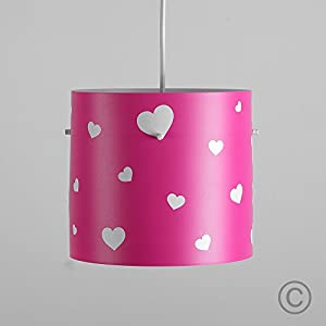 Pretty Pink And White Hearts Girl's Colourful Cylinder Ceiling Pendant Light Shade