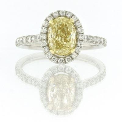 2.29ct Fancy Yellow Oval Cut Diamond Engagement