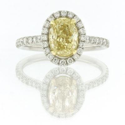 2.29ct Fancy Yellow Oval Cut Diamond Engagement