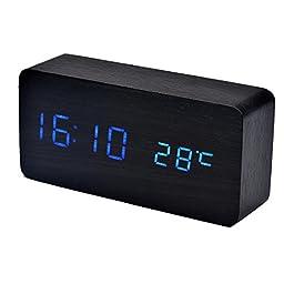 DEESEE(TM) Temperature Sounds Control LED electronic desktop Digital Alarm Clock (Blue )