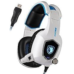 SADES AW50 Gaming Headset mit Bügel-Mikrofon Stereo Sound / USB 2.0 / Vibration Module / Schalldämmung Auflagen für PC und MAC (weiß)