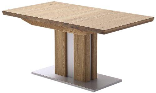 Ausziehbarer Säulentisch Bergamo - Tischplatte und Gestell Eiche massiv matt lackiert - Absetzung Gestell und Bodenplatte Edelstahloptik - Maße in B/H/T: ca. 160(210)x77x90 cm