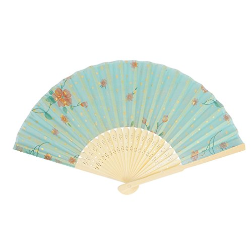uxcell® Bamboo Frame Chinese Style Flower Pattern Folding Hand Pocket Fan