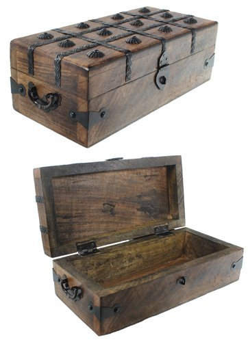 Treasure Chest Box Pirate Box W/ Iron Inlaid - Nautical Jewelry Box - Decorative Collectibles Trinket Boxes
