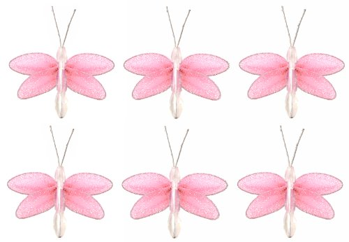 "Dragonfly Decor 2"" Pink Mini (X-Small) Glitter Dragonflies 6Pc Set. Decorate Baby Nursery Bedroom, Girls Room Ceiling Wall Decor, Wedding Birthday Party, Bridal Baby Shower, Bathroom. Decoration For Crafts, Scrapbooks, Invitations, Parties front-981793"